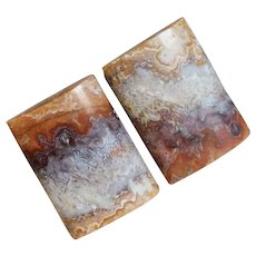 Mid Century 1960s Crazy Lace Agate Stone Vintage Cufflinks