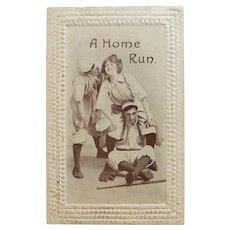 Antique HOME RUN Humorous Romantic Baseball Sports Theme Postcard - Circa 1910