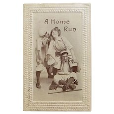 Antique HOME RUN Humorous Romantic Baseball Sports Theme Postcard - Circa 1910