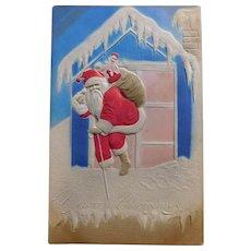 Antique Santa Delivering Doll & Train Postcard - Circa 1908 - Embossed