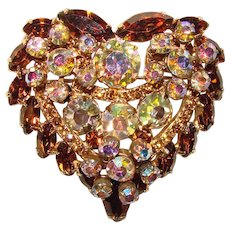 Fabulous D&E JULIANA Vintage Heart Shaped Topaz Brown Colored Rhinestone Brooch