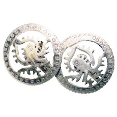 Awesome MEXICAN STERLING Taxco Vintage Earrings - Screwbacks