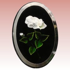 Gorgeous CARVED LUCITE White Rose & Black Vintage Brooch - Medium Size