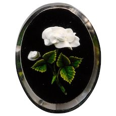 Gorgeous CARVED LUCITE White Rose & Black Vintage Brooch - Small Size