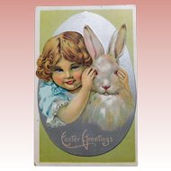 Antique GIRL & RABBIT Peek a Boo Easter Postcard - Circa 1911