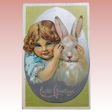 Antique GIRL & RABBIT Peek a Boo Easter Postcard - Circa 1911