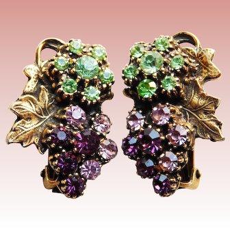 Gorgeous GRAPES Rhinestone Vintage Clip Earrings