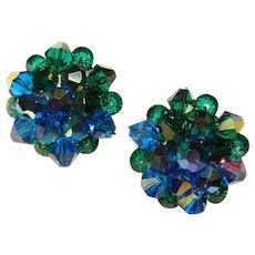 Fabulous BLUE & GREEN Aurora Crystal Vintage Clip Earrings