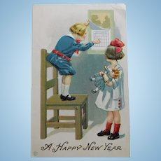 Antique GIRL & DOLL and Boy New Year Postcard