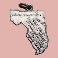Sterling FLORIDA Signed Wells Vintage Estate Charm - State Souvenir