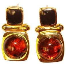 Beautiful JOAN RIVERS Amber & Black Color Earrings
