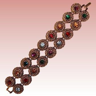Fabulous JUDY LEE Signed Color Rhinestone Vintage Bracelet