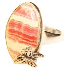 Fabulous STERLING Rhodochrosite Pink Stone Butterfly Design Ring