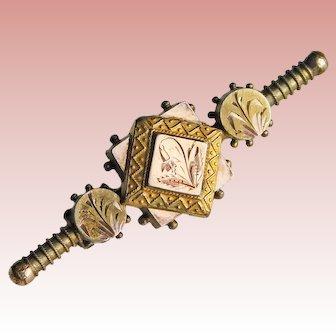 Fabulous VICTORIAN Ornate Antique Brooch - Engraved Fuchsia Design