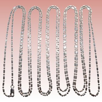 """Yards of Sterling MILOR Vintage Italian Chain Necklace - 98"""" Long"""