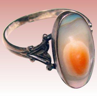 Fabulous STERLING Blister Shell Vintage Estate Ring