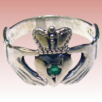 Irish STERLING CLADDAGH Signed Vintage Ring - Made in Ireland