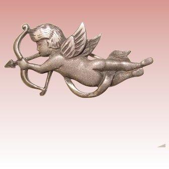 Beautiful STERLING Cupid Design Brooch