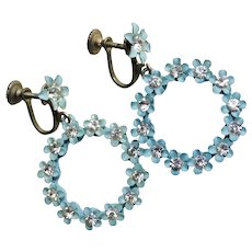 Awesome 1960s Flower Power Blue Enamel & Rhinestone Vintage Earrings - Screw Backs - Dangling Hoop Design