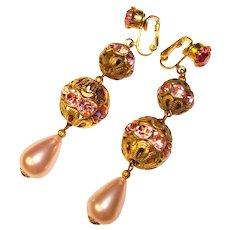 Fabulous PINK RHINESTONE & Faux Pearl Vintage Dangle Earrings