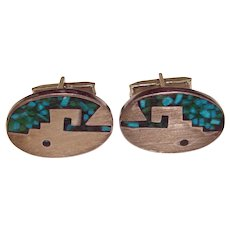 Gorgeous Mexican Sterling Mosaic Stone Inlay Vintage Cufflinks