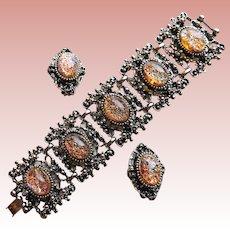 For Small Wrist - Fabulous FOIL GLASS Stones Vintage Wide Bracelet Set