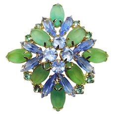 Gorgeous BLUE & GREEN Frosted Glass Rhinestone Vintage Brooch - Open Backed Stones