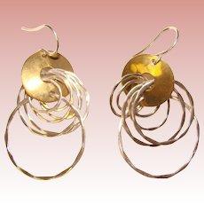 Fabulous ROBERT LEE MORRIS Modernist Design Sterling Mixed Metal Earrings