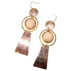 Fabulous ROBERT LEE MORRIS Modernist Design Sterling Mixed Metal Mother of Pearl Earrings