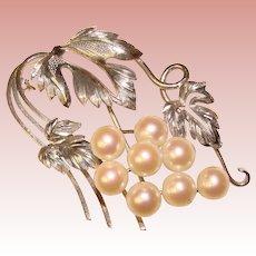 Fabulous Sterling & Akoya Cultured Pearl Vintage Brooch