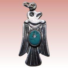 Sterling & Turquoise THUNDERBIRD Bird Vintage Estate Charm