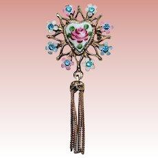 Gorgeous HEART Enamel & Rhinestone Vintage Brooch - with Chain Dangle