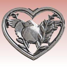 Gorgeous CORO STERLING Vintage Dove Bird in Heart Brooch - Pegasus Mark