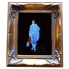 Fabulous BLUE BOY Butterfly Wing Vintage Picture - Reverse Painted