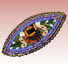 Gorgeous MICRO MOSAIC Micromosaic Vintage Brooch - Italy Italian