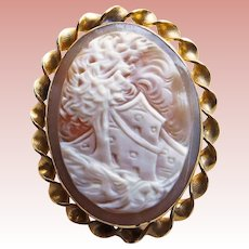 Gorgeous Carved Shell CAMEO 12K G F Scenic Brooch / Pendant - House on a Windy Day