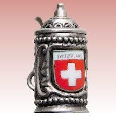 800 Silver & Enamel SWITZERLAND Stein Mechanical Movable Vintage Estate Charm - Travel Souvenir