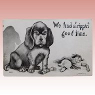 Antique DOG & DOLL Comic Postcard - A Rippin' Good Time
