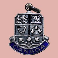 Vintage CANADA Sterling & Enamel Estate Charm - Travel Souvenir - Canadian