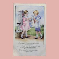 Antique GIRL & DOLL Give Boy a Drink Postcard