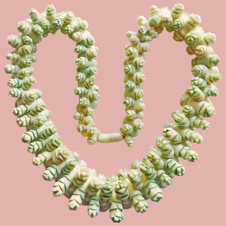 Fabulous Hand Carved Bone Bead Vintage Necklace Jewelpigs Ruby Lane