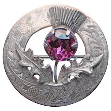 Gorgeous STERLING THISTLE Purple Glass Vintage Brooch - Ward Bros - Glasgow Scotland Scottish Hallmarked
