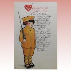 Antique WWI Doughboy Sweetheart Valentine Postcard - Boastful Soldier
