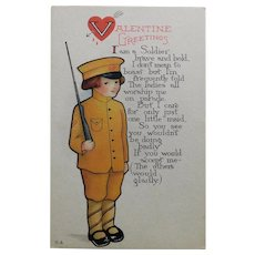 Antique WWI Doughboy Sweetheart Valentine Postcard - Boastful Soldier