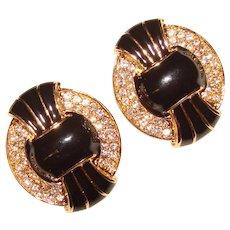 Fabulous KJL Kenneth Jay Lane Black Enamel & Rhinestone Clip Earrings