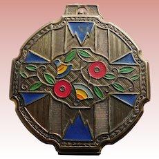 Gorgeous ART DECO Geometric Floral Compact - Cold Painted Enamel