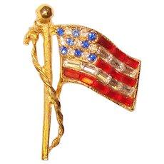 Fabulous PELL American Flag Vintage Rhinestone Brooch