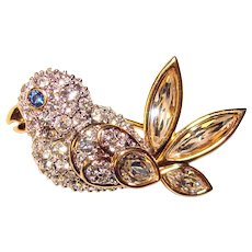 Gorgeous Swarovski BIRD Design Rhinestone Brooch - Swan Mark