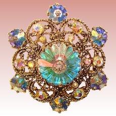Fabulous WEISS Signed Margarita Crystal & Rhinestone Vintage Brooch