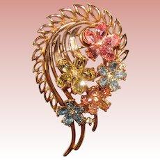 Fabulous TRIFARI Signed Colored Rhinestone Vintage Flower Design Brooch